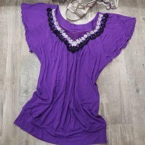 Wrapper Tops - Lg. Purple Top w/ Black & White Lace Trim